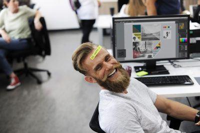 happy man employee wellness